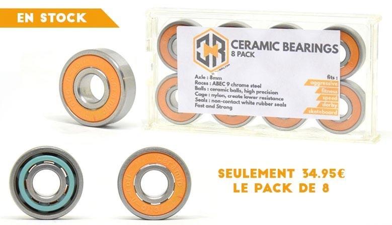 Roulements céramiques clic-n-roll disponibles ici au meilleur prix chez le spécialiste du roller en France, le magasin clicnroll