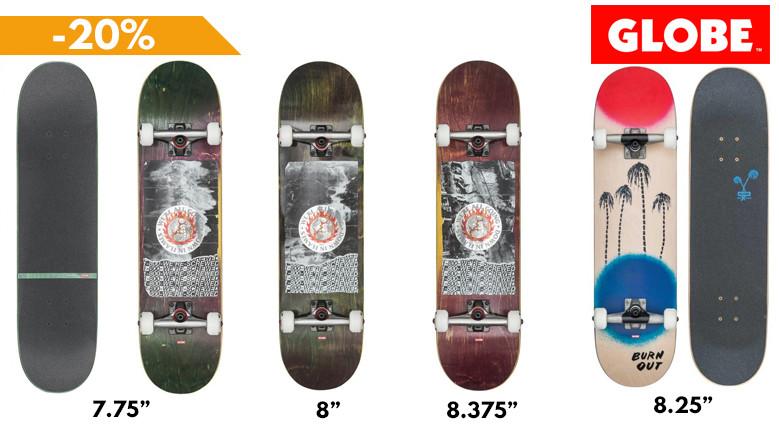 GLOBE Skateboards complets en promotion disponibles au skateshop de nimes clic-n-roll, le magasin spécialiste du skate à Nîmes