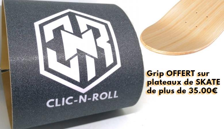 Grip skateboard offert pour tout achat de plateau de skate de plus de 35€ chez clic-n-roll skateshop à Nîmes