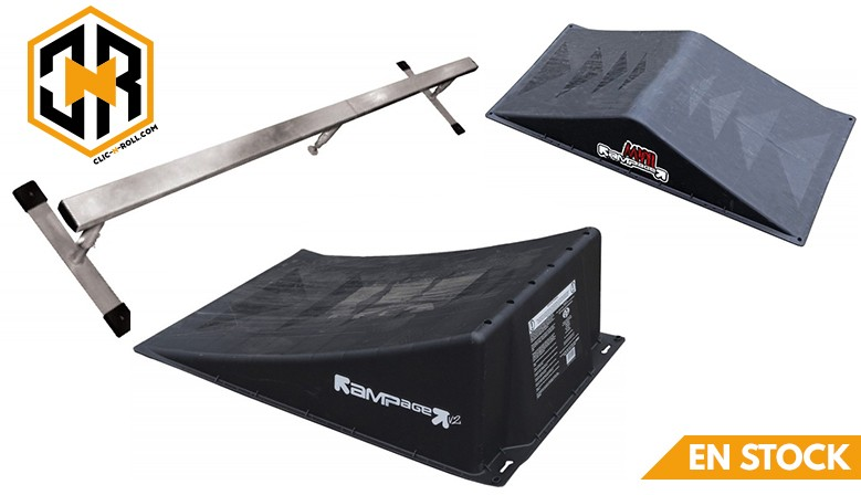 Modules RAMPAGE pour skate, roller et trottinette maintenant disponible chez clic-n-roll, le rollershop Français préféré des riders!