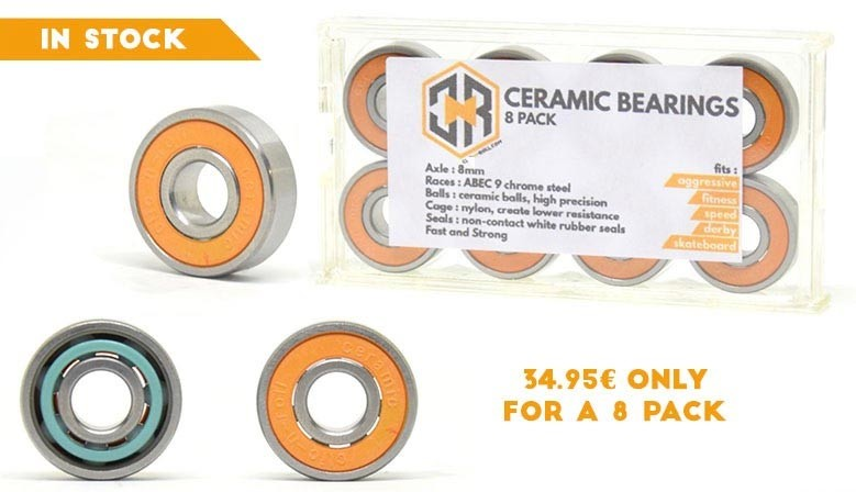 Clic-n-roll Ceramic Bearings for skateboard, longboard and inline skates available at clic-n-roll rollershop, the french specialiste urban sports